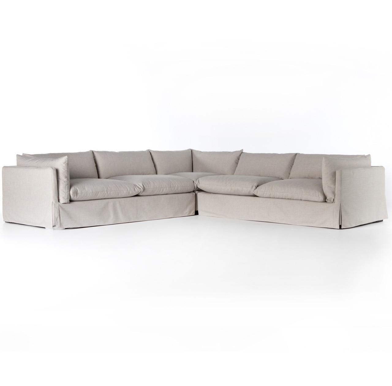 Grant Modern Charcoal Grey Armless Corner Sectional: Loft Modern Beige Slipcovered Corner Sectional
