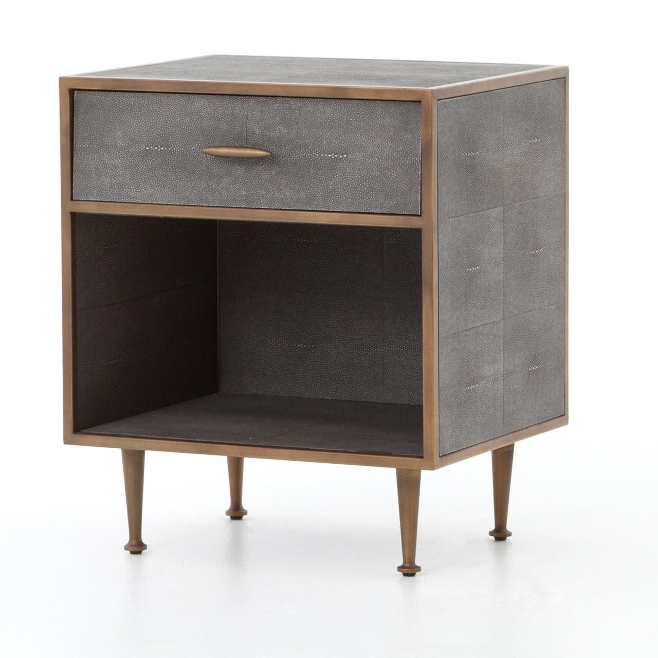 hollywood modern shagreen bedside table antiqued brass zin home