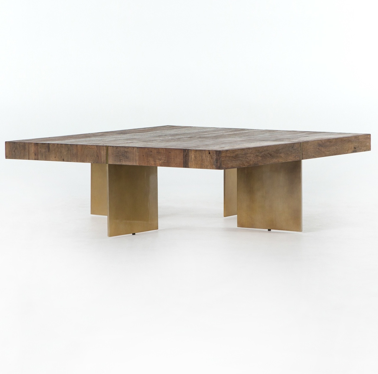 40 Metal Square Coffee Tables: Alec Reclaimed Wood Square Coffee Table With Brass Legs