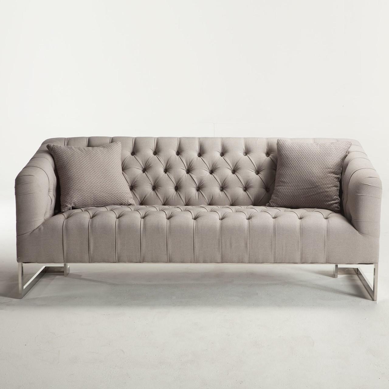 Austin Modern Tufted Sofa  Grey Grey Tufted Sofa6