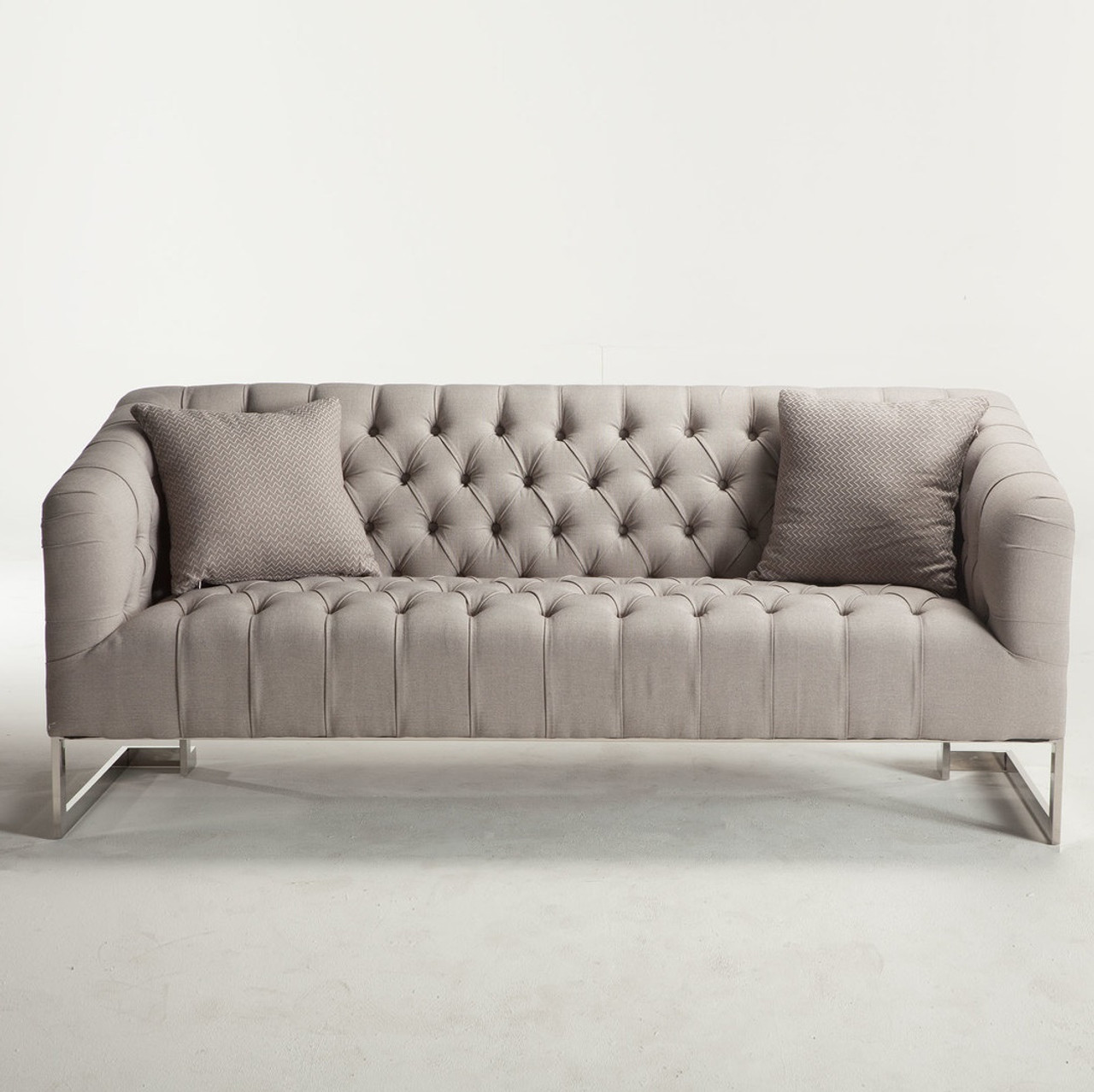 Contemporary Grey Sofa: Austin Modern Tufted Sofa - Grey