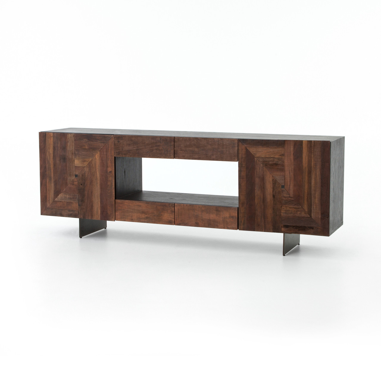 Beau Reclaimed Wood Antique Bronze Leg Media Cabinet