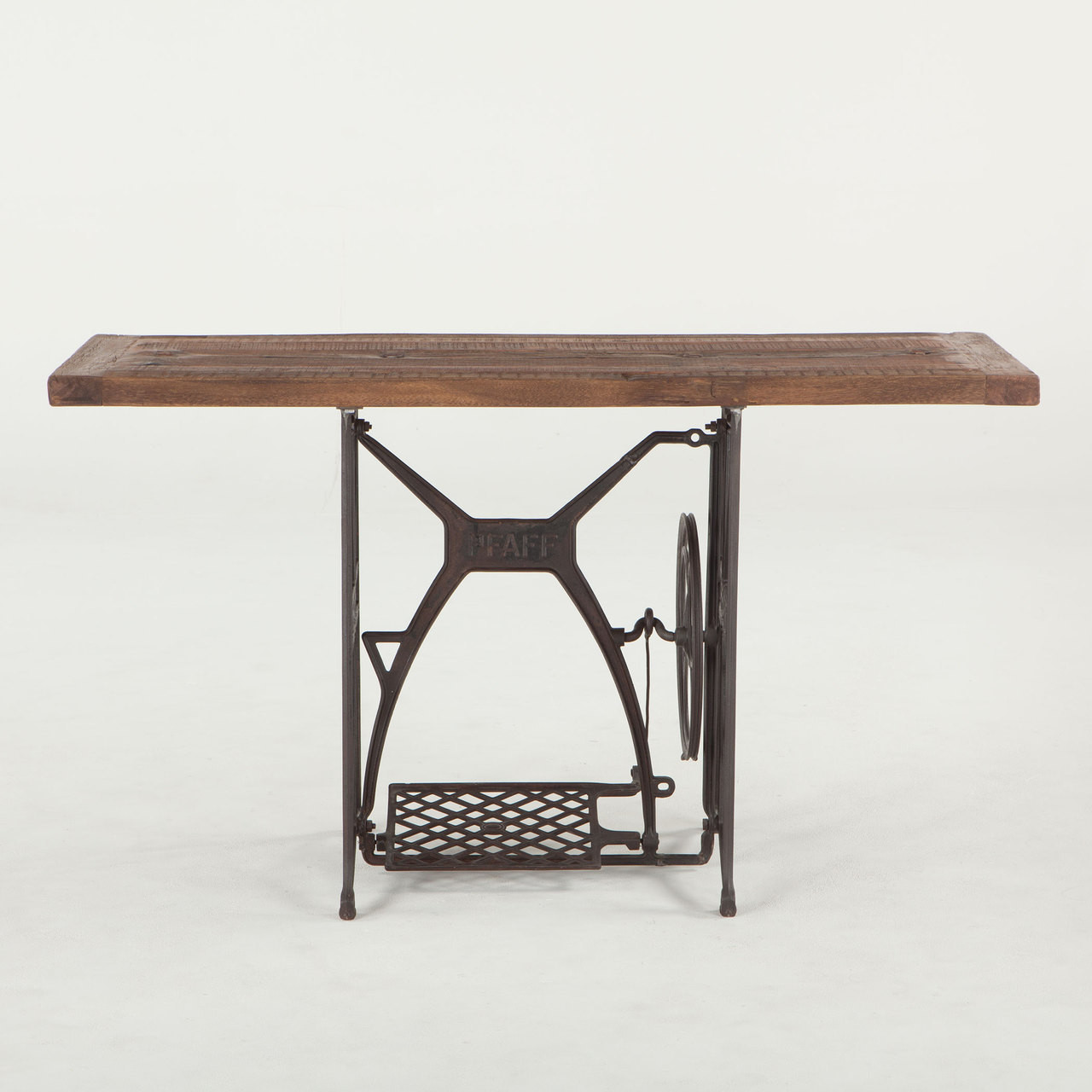 iron console table. Steampunk Industrial Wood + Iron Console Table 54\