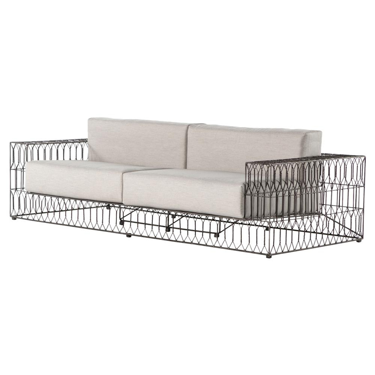 Torrance Woven Vintage Metal Indoor Outdoor Sofa 96\