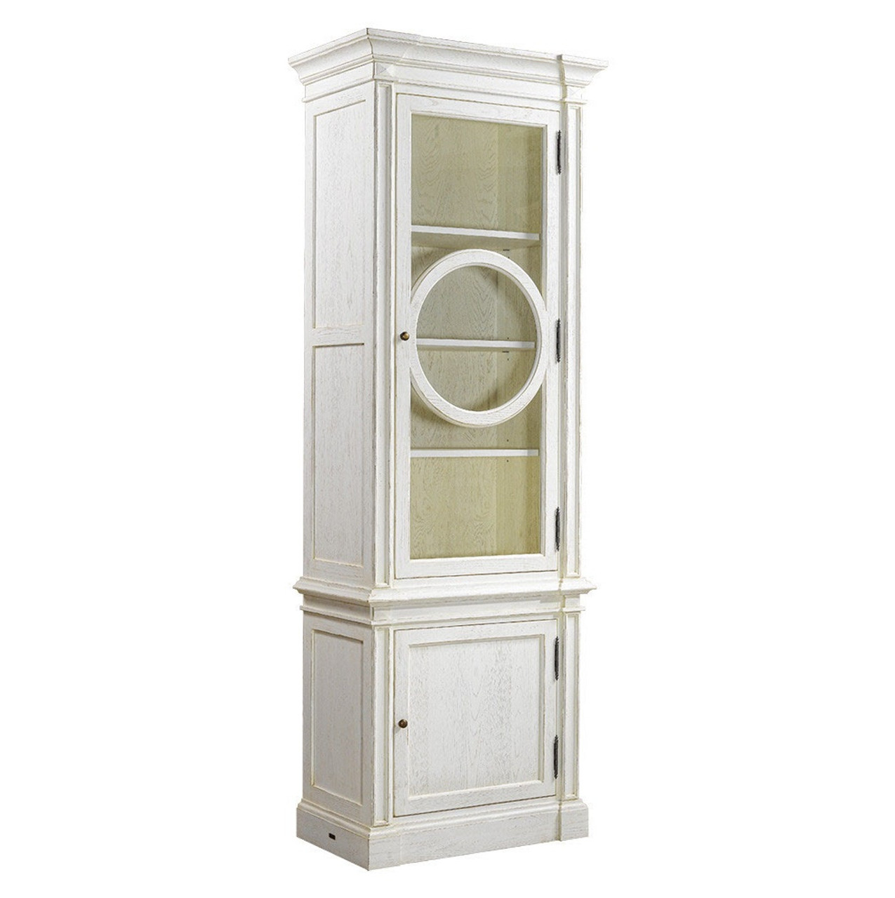 Parisian Vintage Oak Narrow Display Cabinet   White