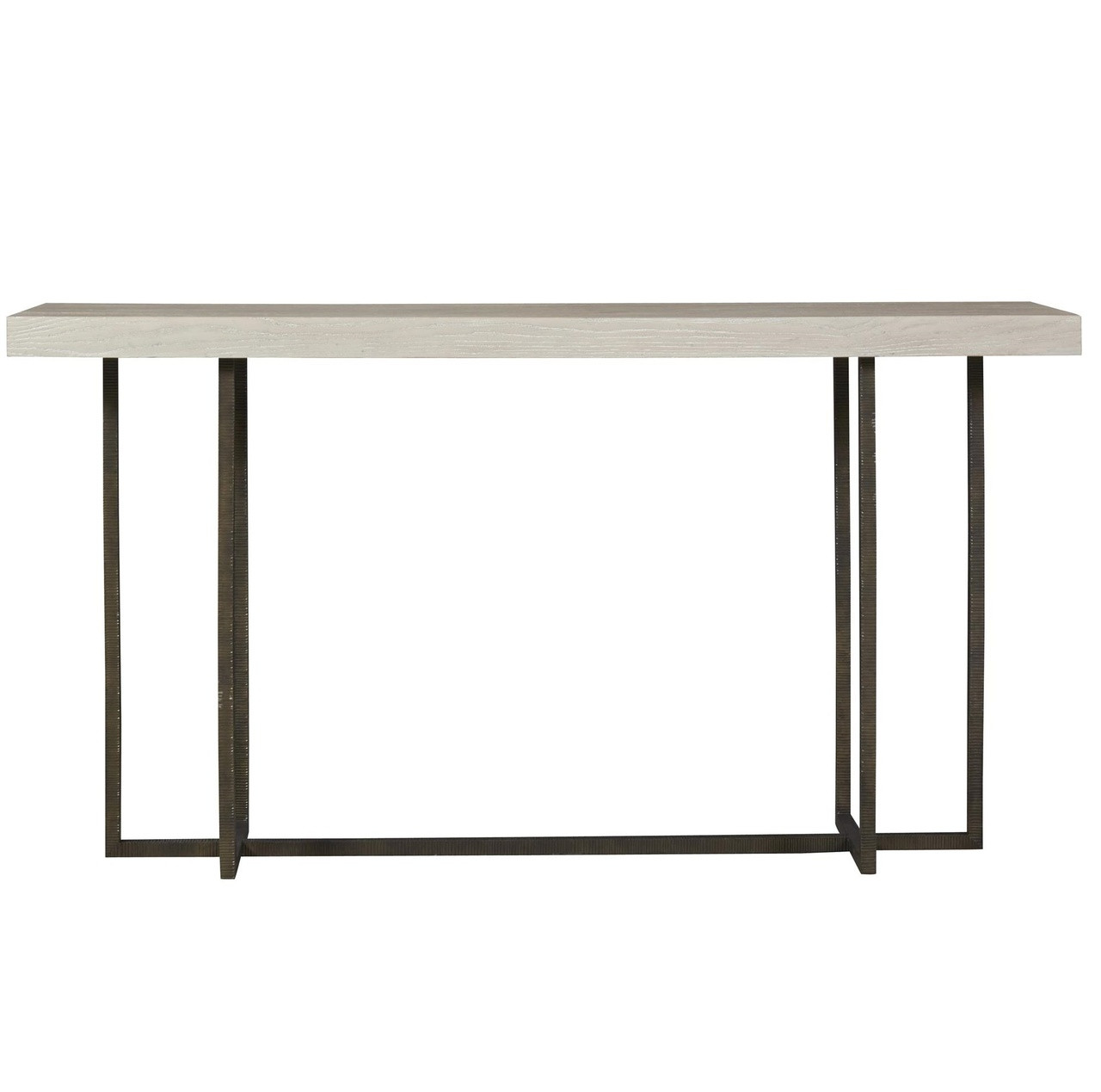 Modern Grey Oak Wood + Bronze Metal Console Table