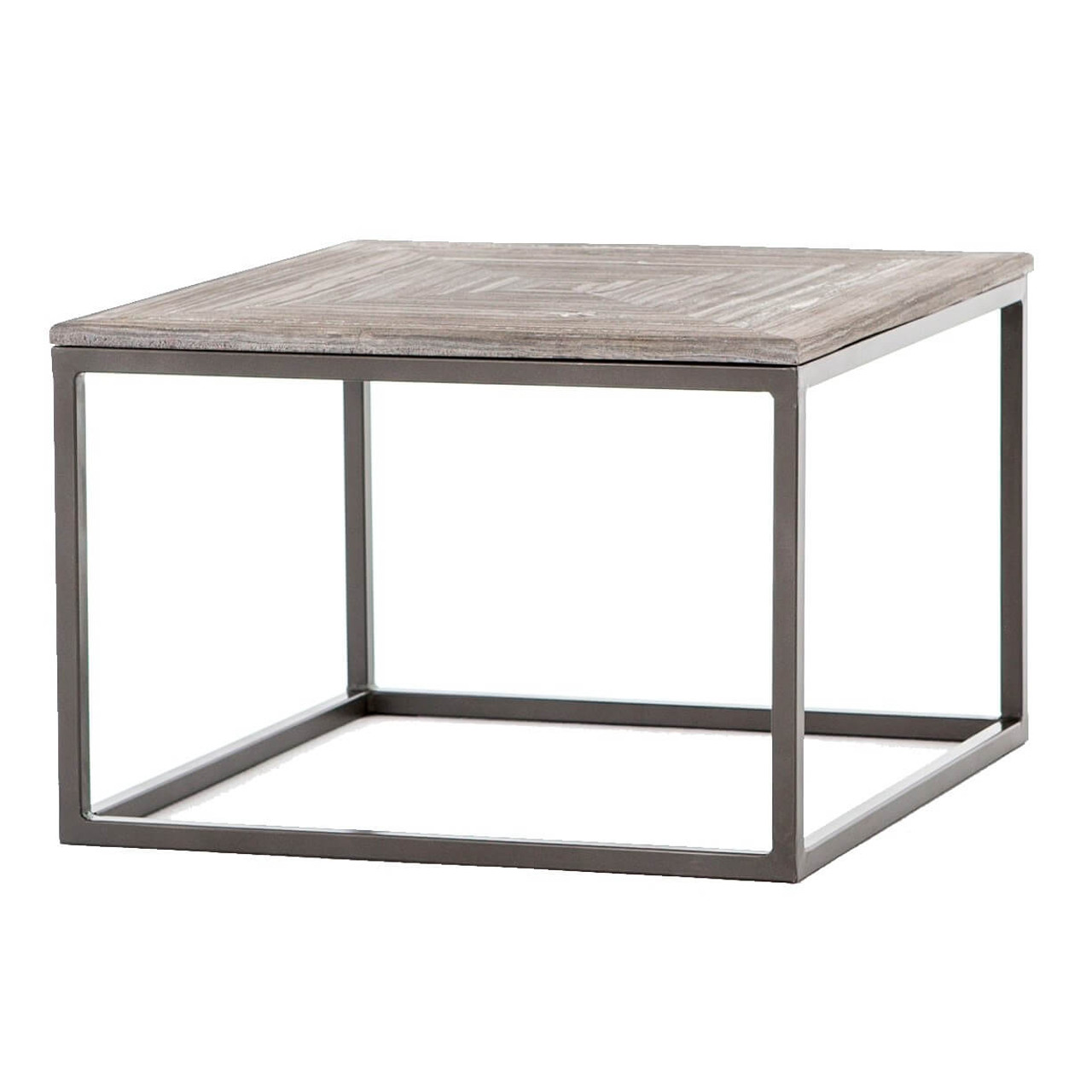 High Quality Linden Industrial Iron And Marble Top Square Coffee Table