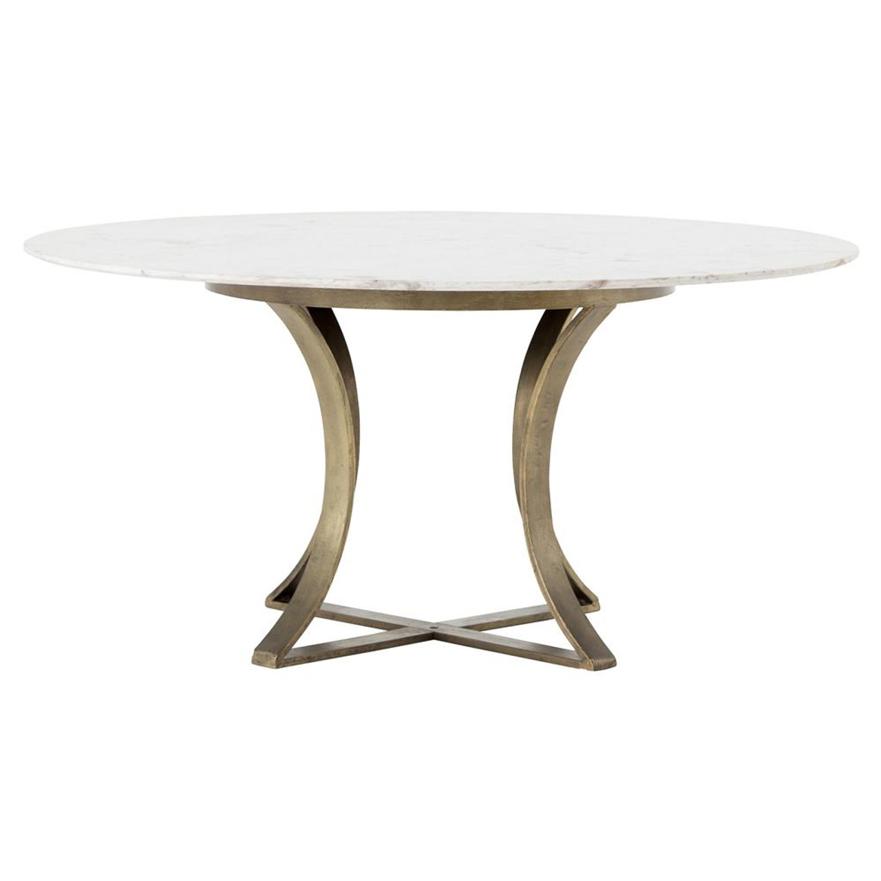white round dining table Gage White Marble & Antique Brass Leg Round Dining Table 60