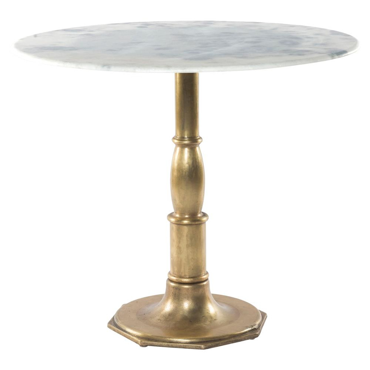 French Bistro White Marble + Brass Pedestal Round Table 36