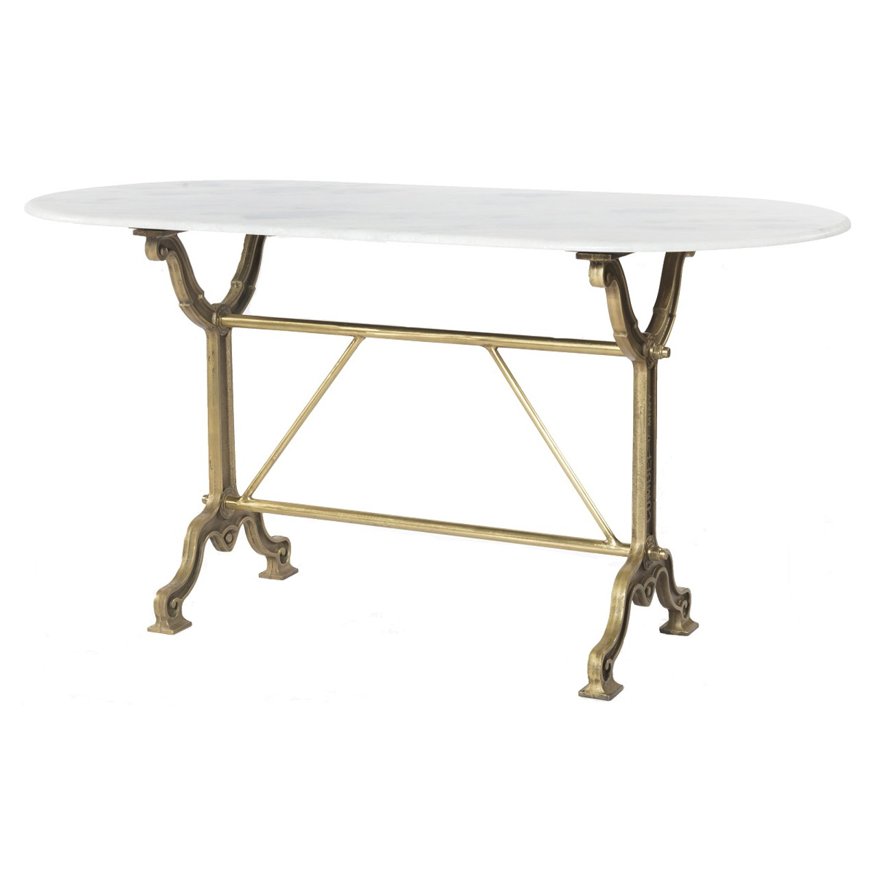 French Industrial White Marble Top Oval Writing Desk   Brass
