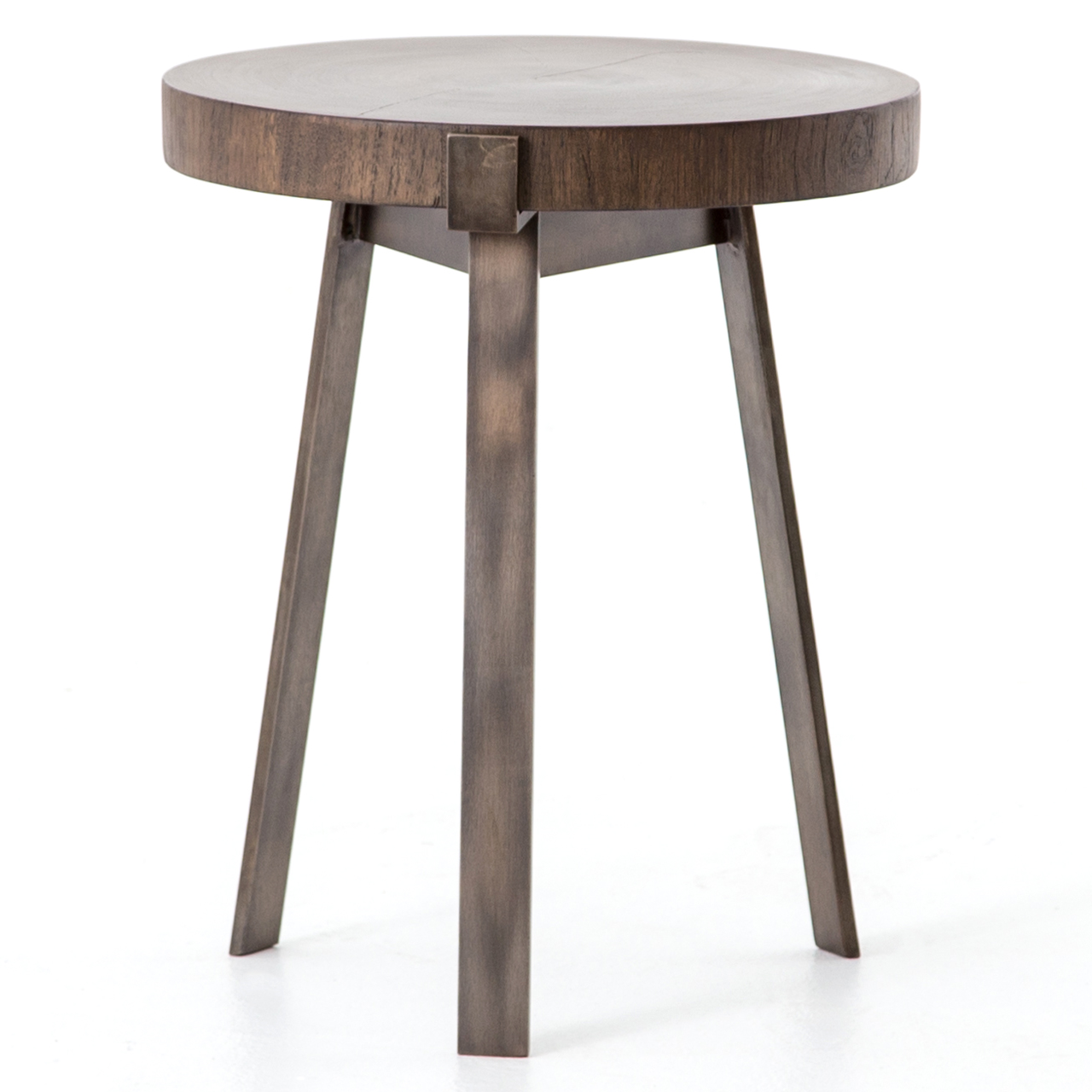 Exeter Smoked Wood + Bronzed Leg Round End Table