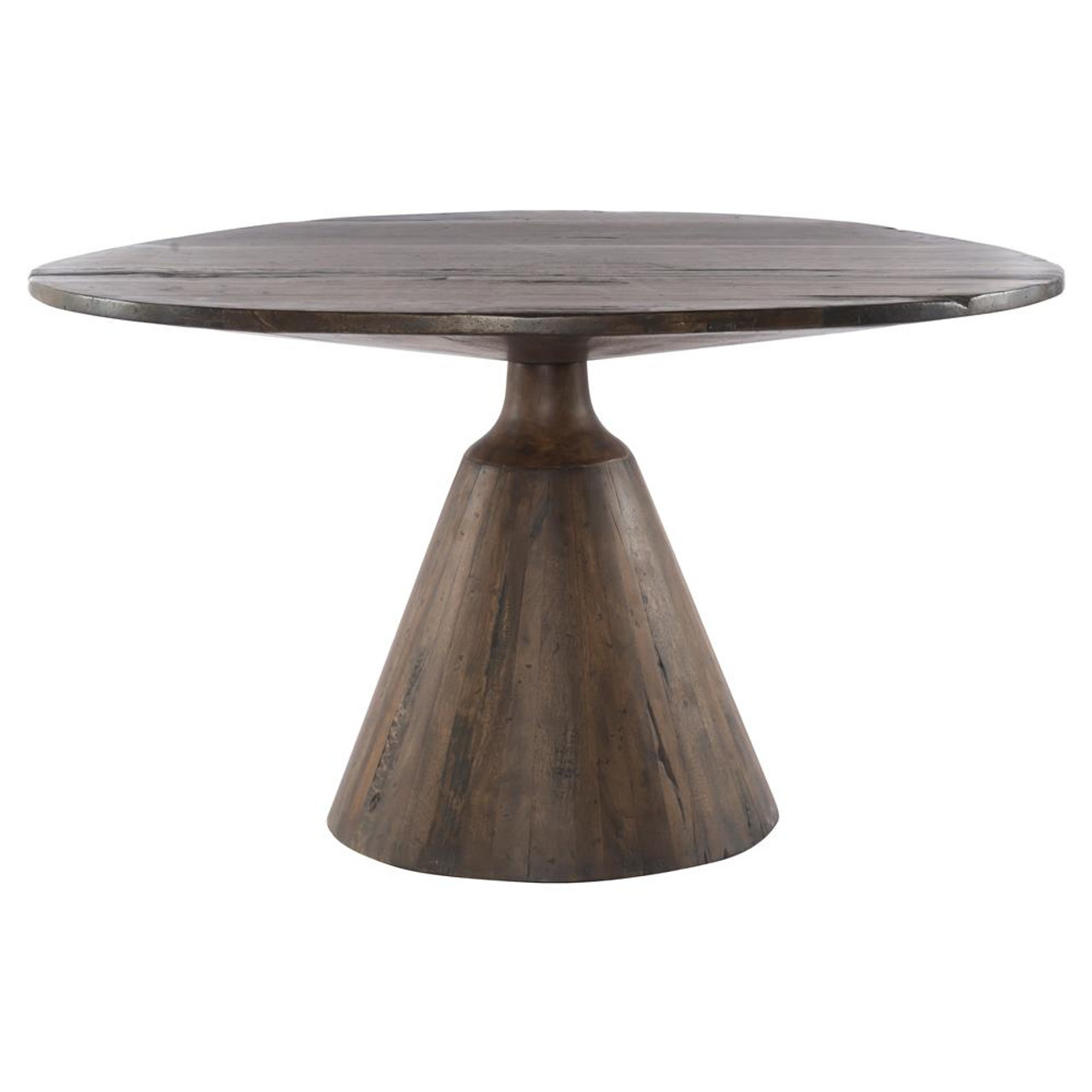 Bronx old wood round pedestal dining table 54