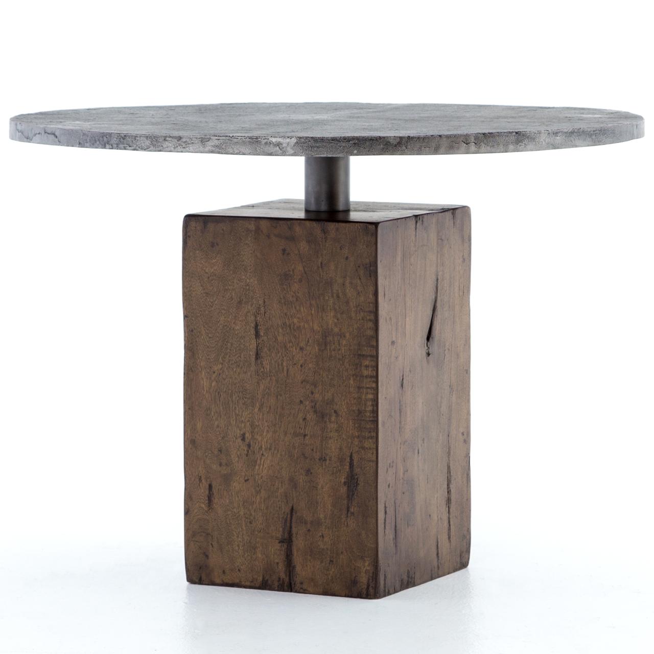 industrial wood furniture. Boomer Rustic Industrial Wood Block Pedestal Bistro Table 42\ Furniture