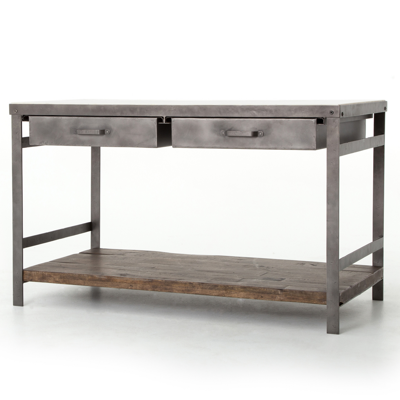 Marble Topped Kitchen Island | Elliot Modern Industrial White Marble Top Kitchen Island Zin Home