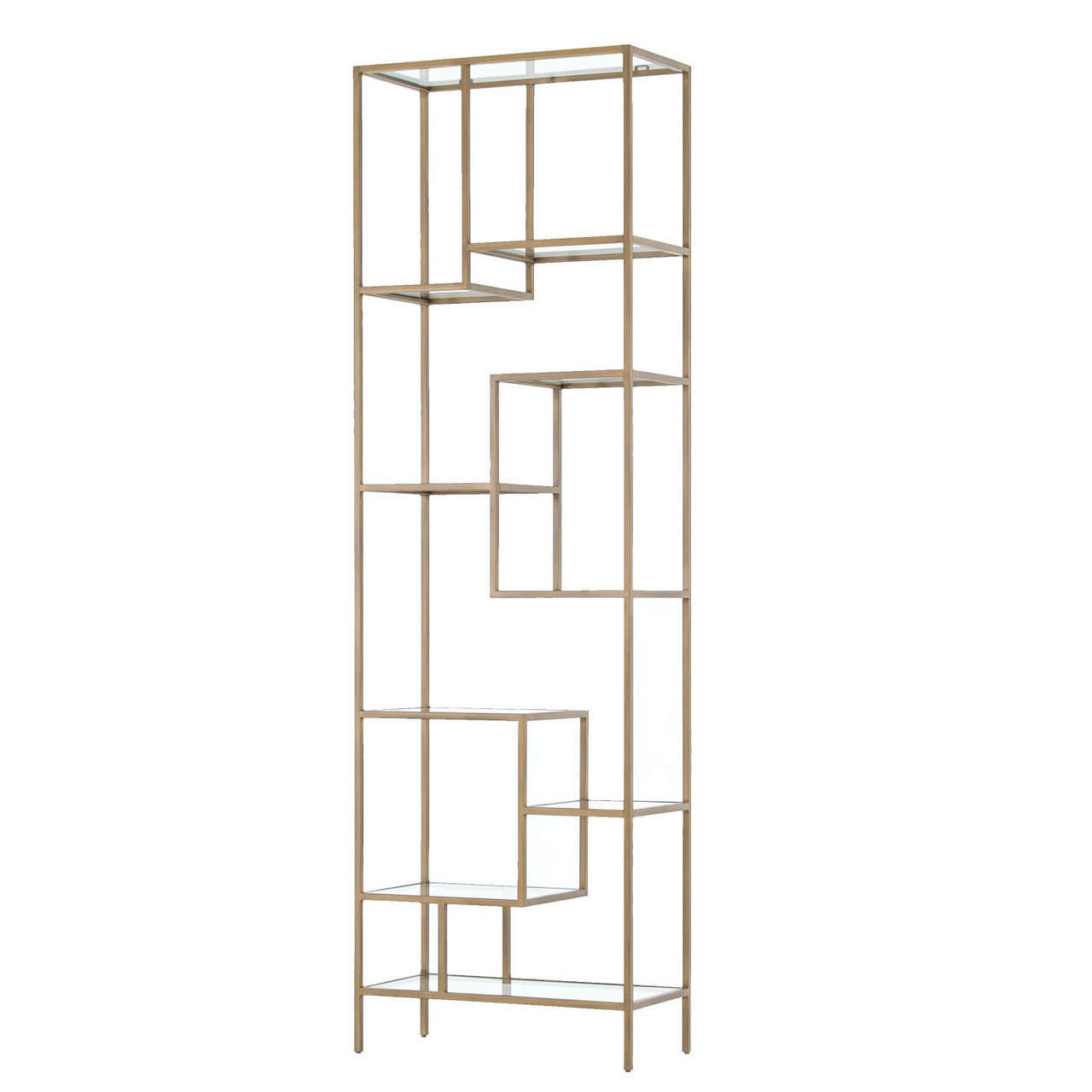 Helena Staggered Antique Brass + Glass Shelf Bookcase 102\