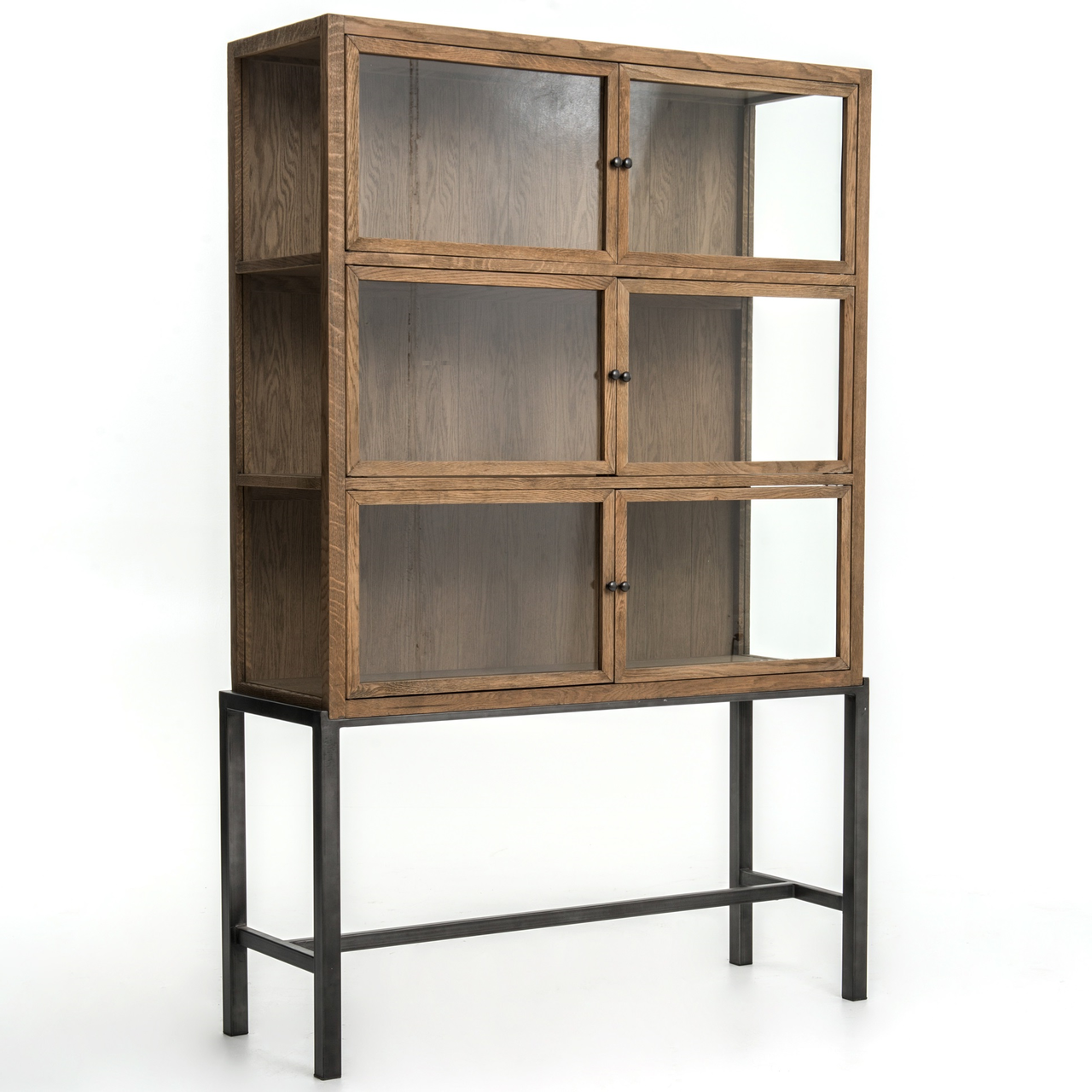 Good Spencer Oak Wood Curio Display Cabinet With Iron Base