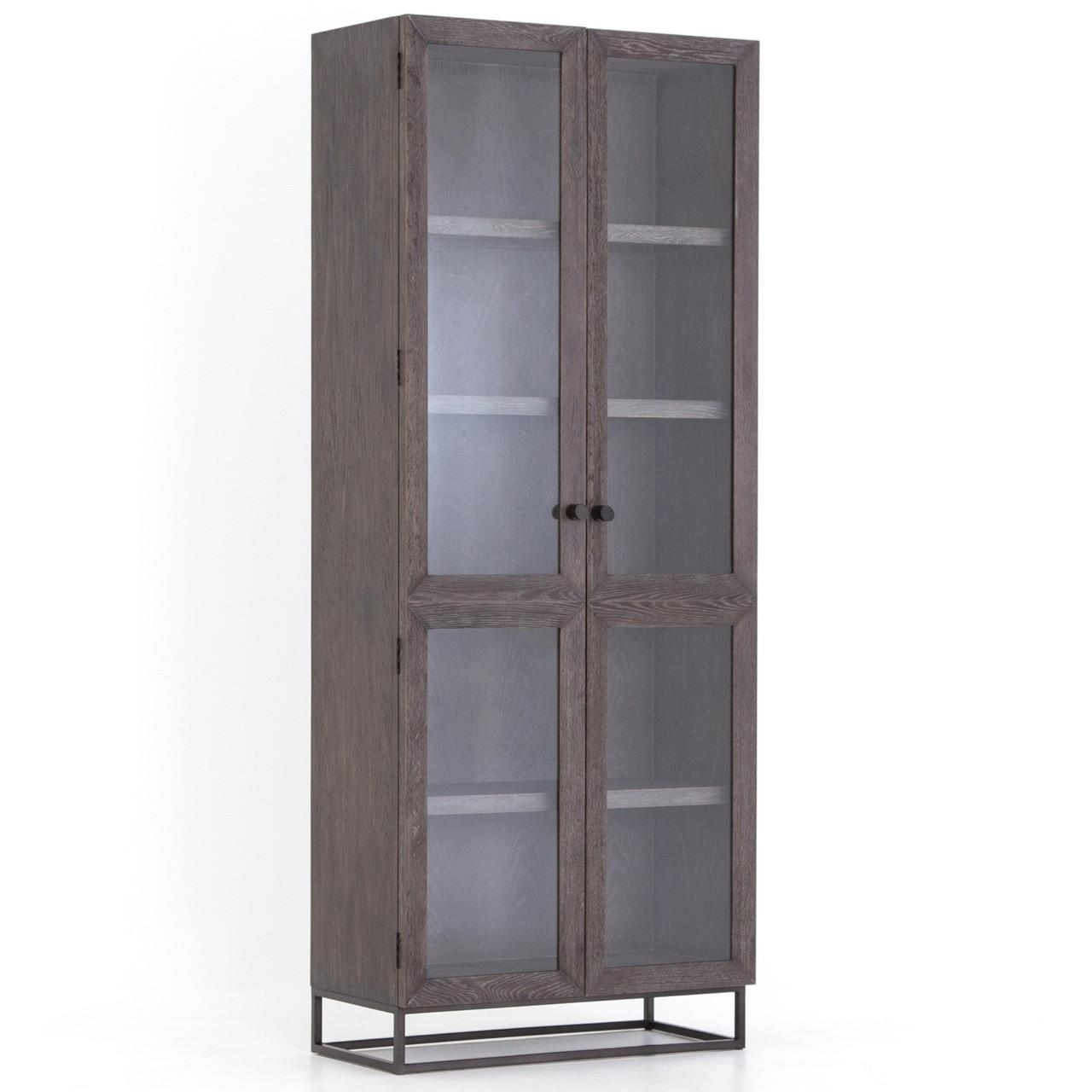 Garner Aged Oak Wood Glass Door Tall Display Cabinet