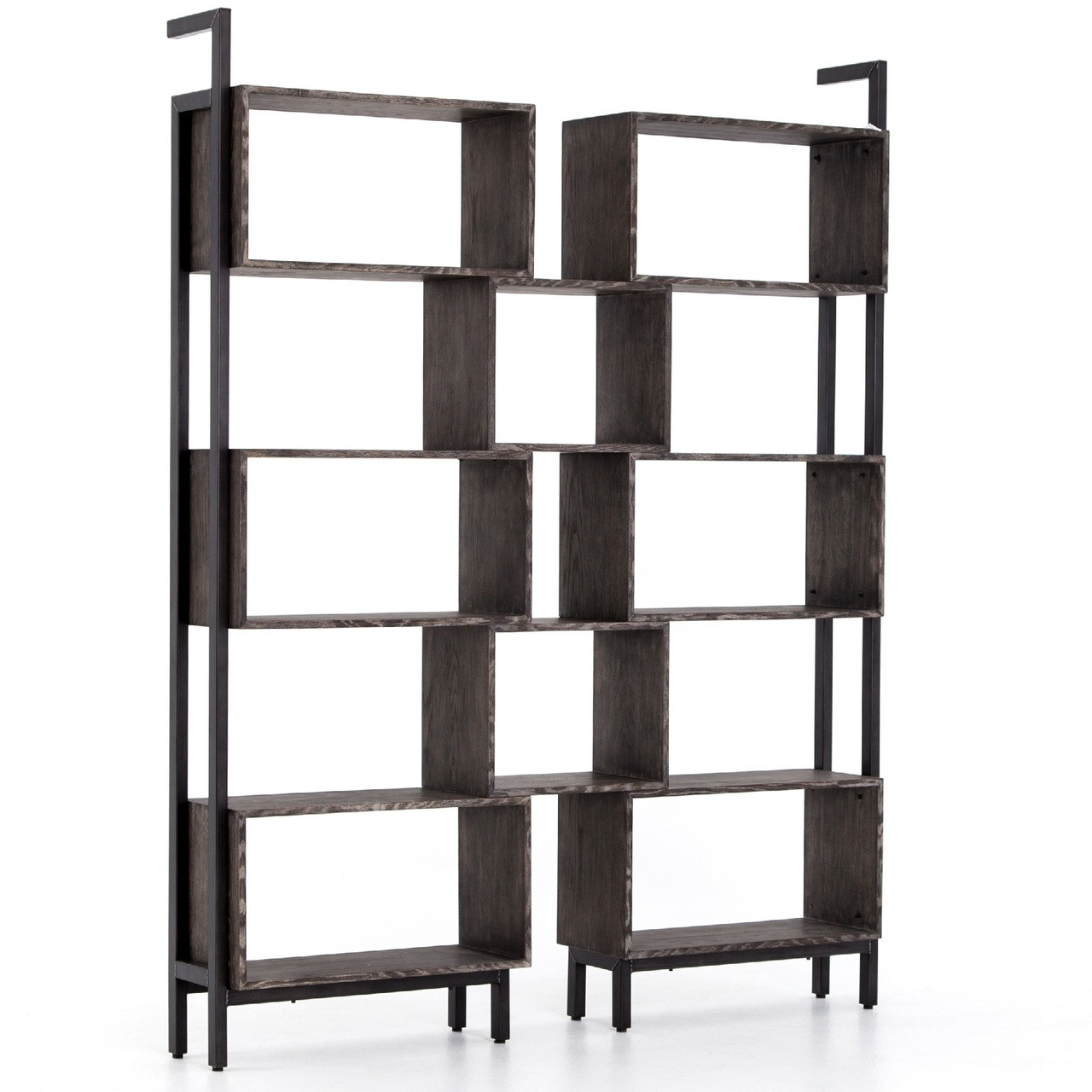 ladder with iron dotandbo com bookcases bookcase pin industrial library
