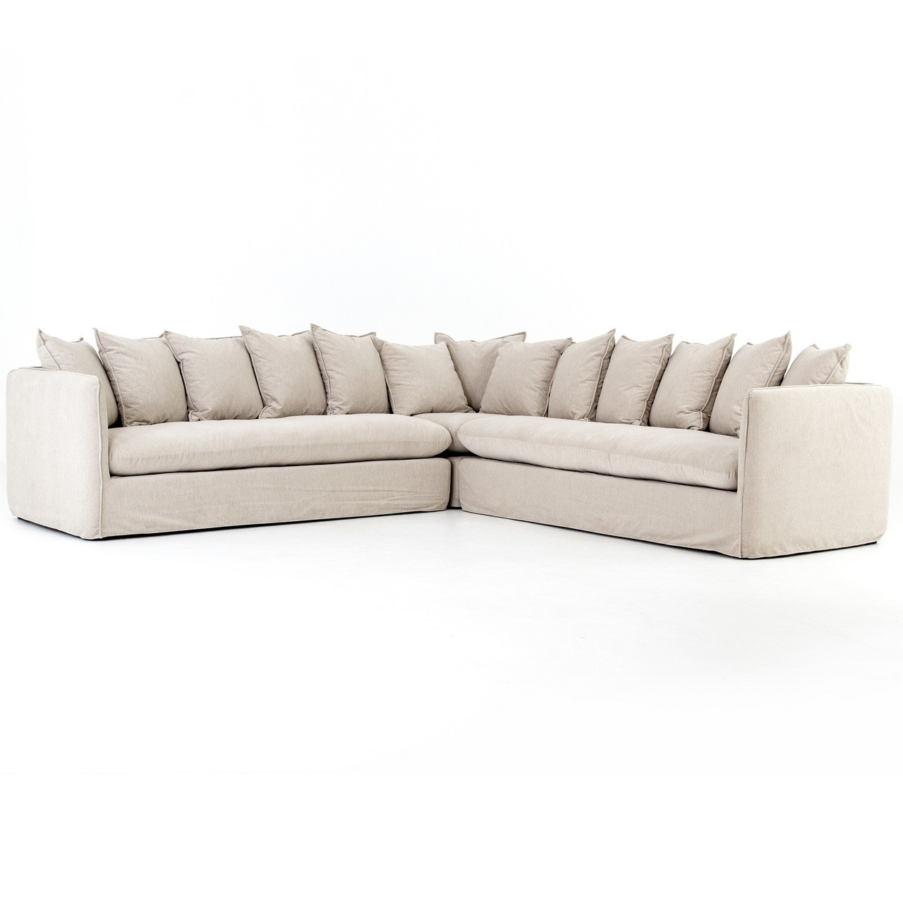 Nora Modern Slipcovered Corner Sectional Sofa   Oatmeal