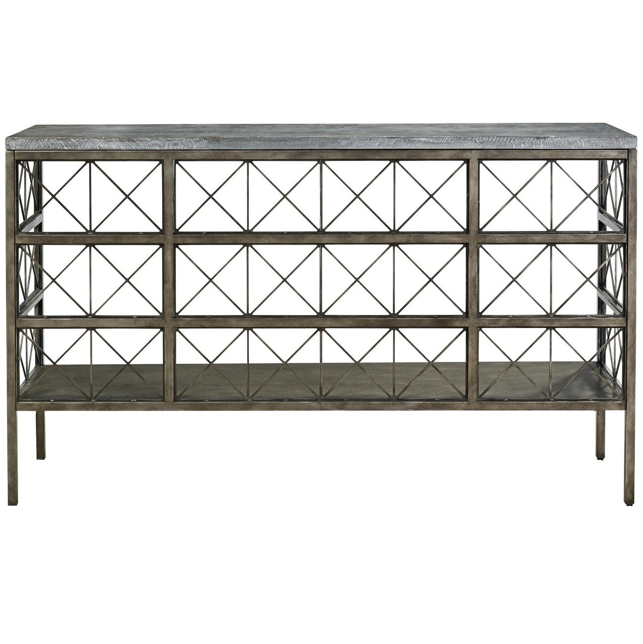 Attrayant Sojourn French Industrial Bluestone Top Metal Console Table