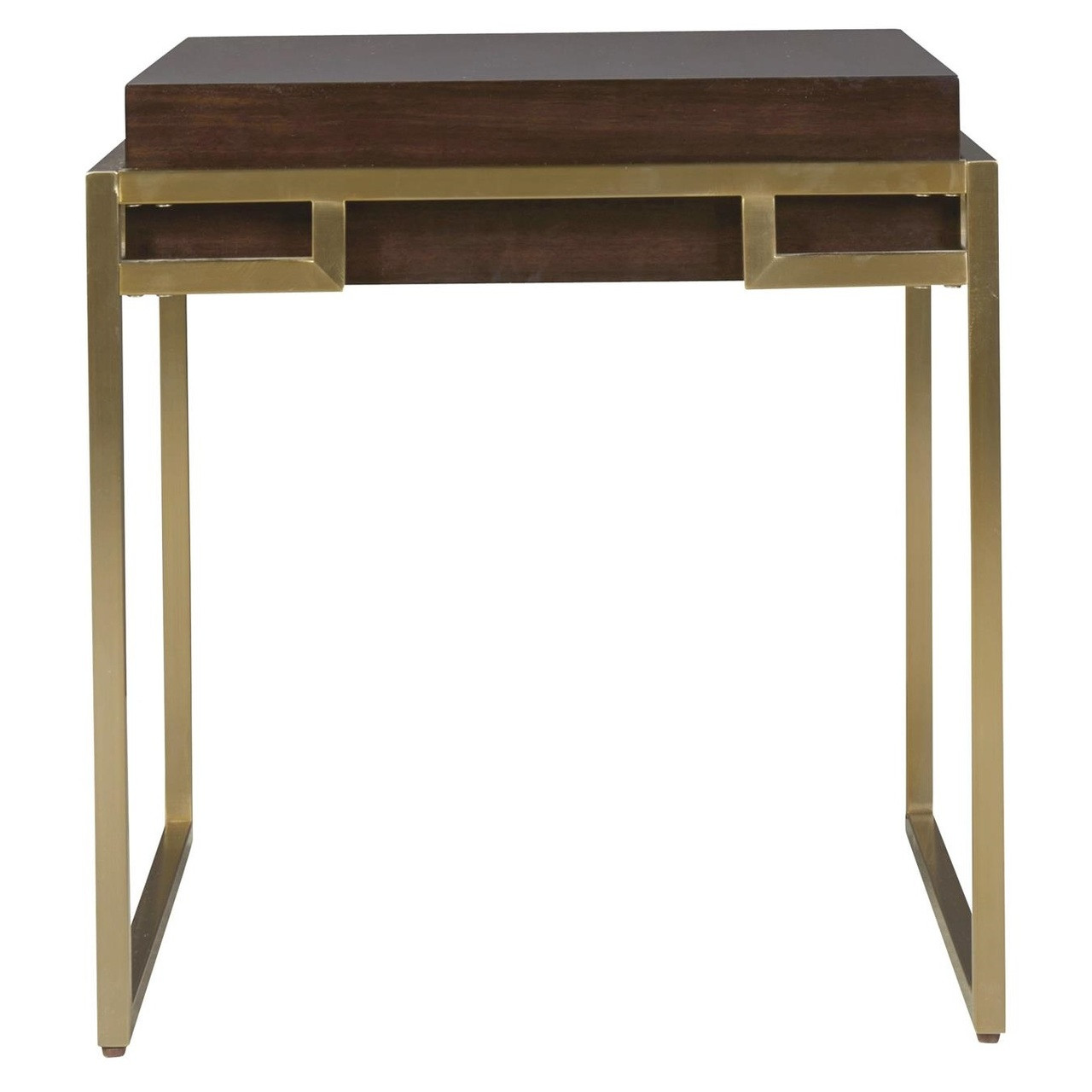 Gibson Modern Brushed Gold Mahogany Side Table Zin Home - Brushed gold side table