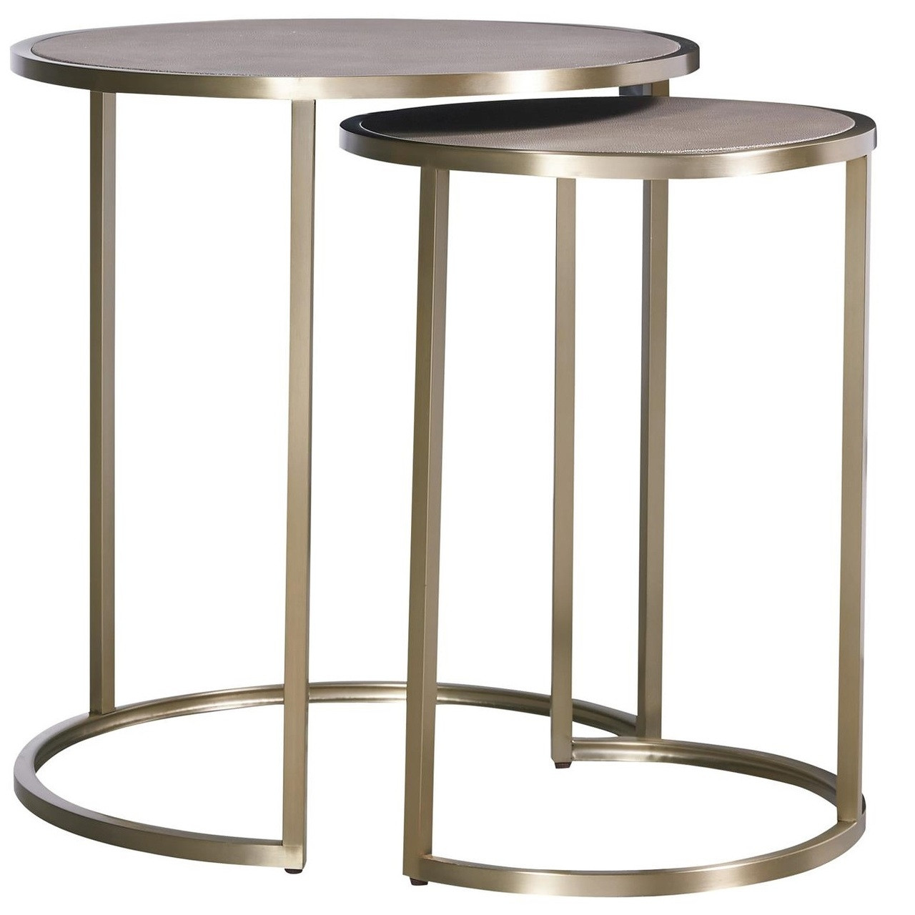 Portobello Modern Shagreen Brass Round Nesting Tables