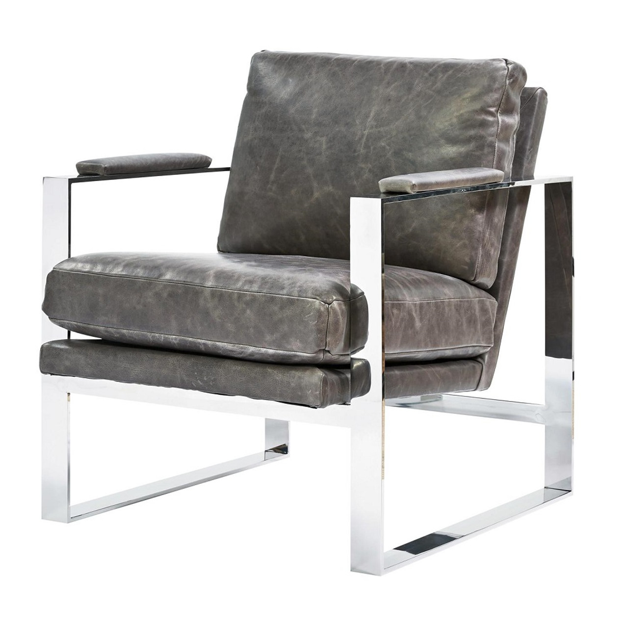 Leather Chair With Metal Accent On Arms: Elan Mid Century Modern Grey Leather Metal Arm Chair