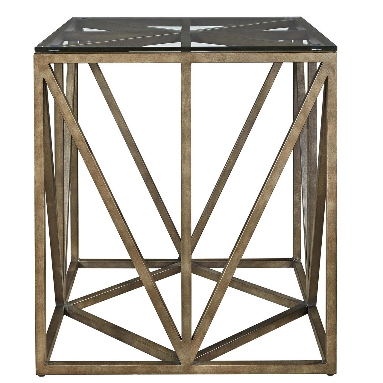 French Industrial Bronze Metal U0026 Glass Square End Table