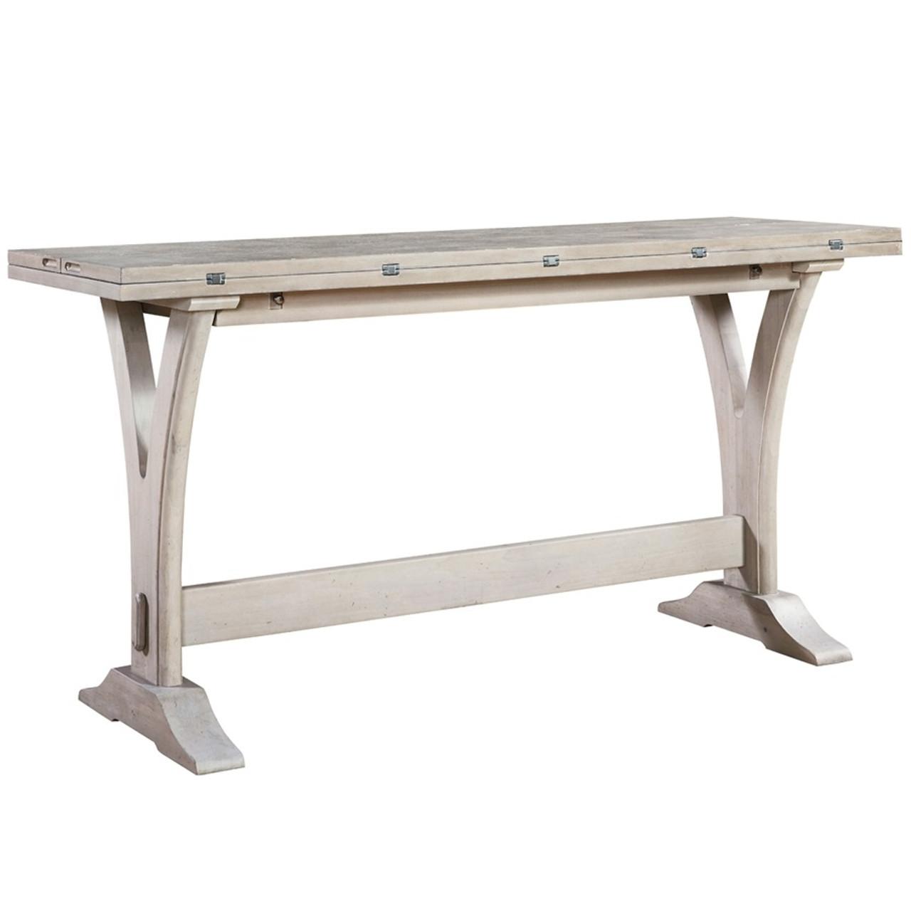 Belgian Cottage Flip Top Console Table Antiqued White