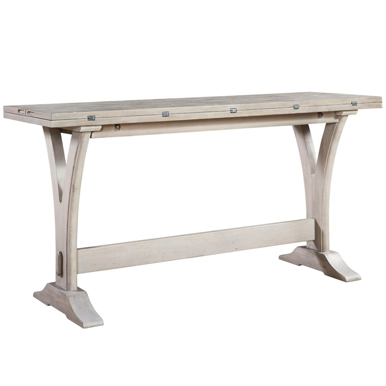 Belgian Cottage Flip Top Console Table   Antiqued White