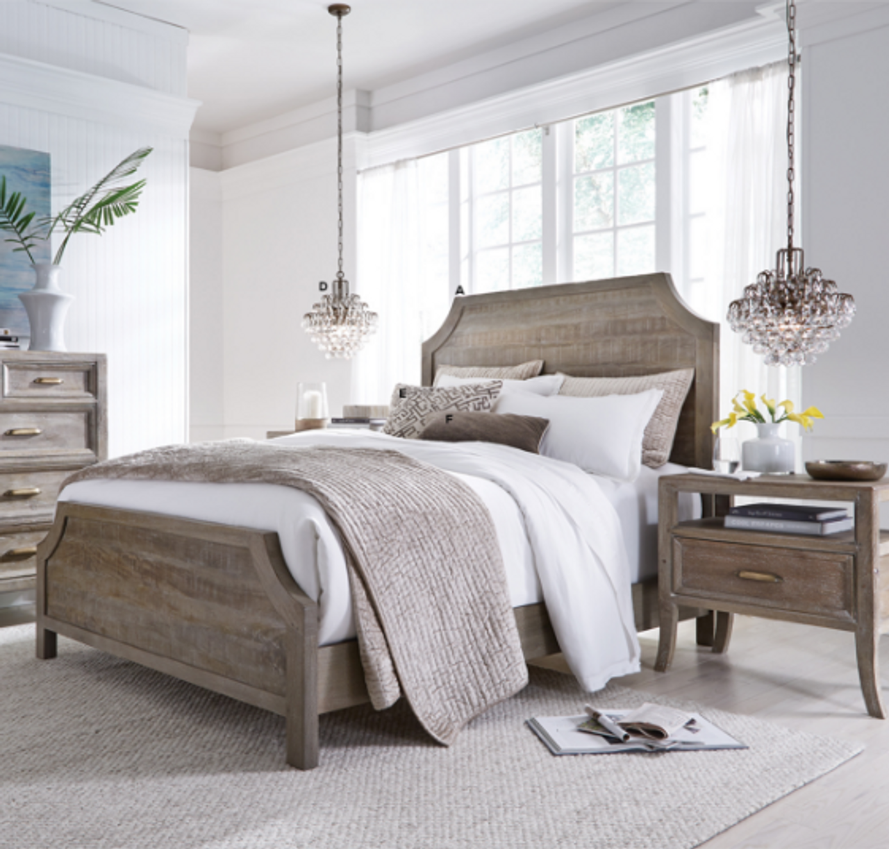 Amelie Solid Wood Queen Bed Frame - Vintage Taupe | Zin Home