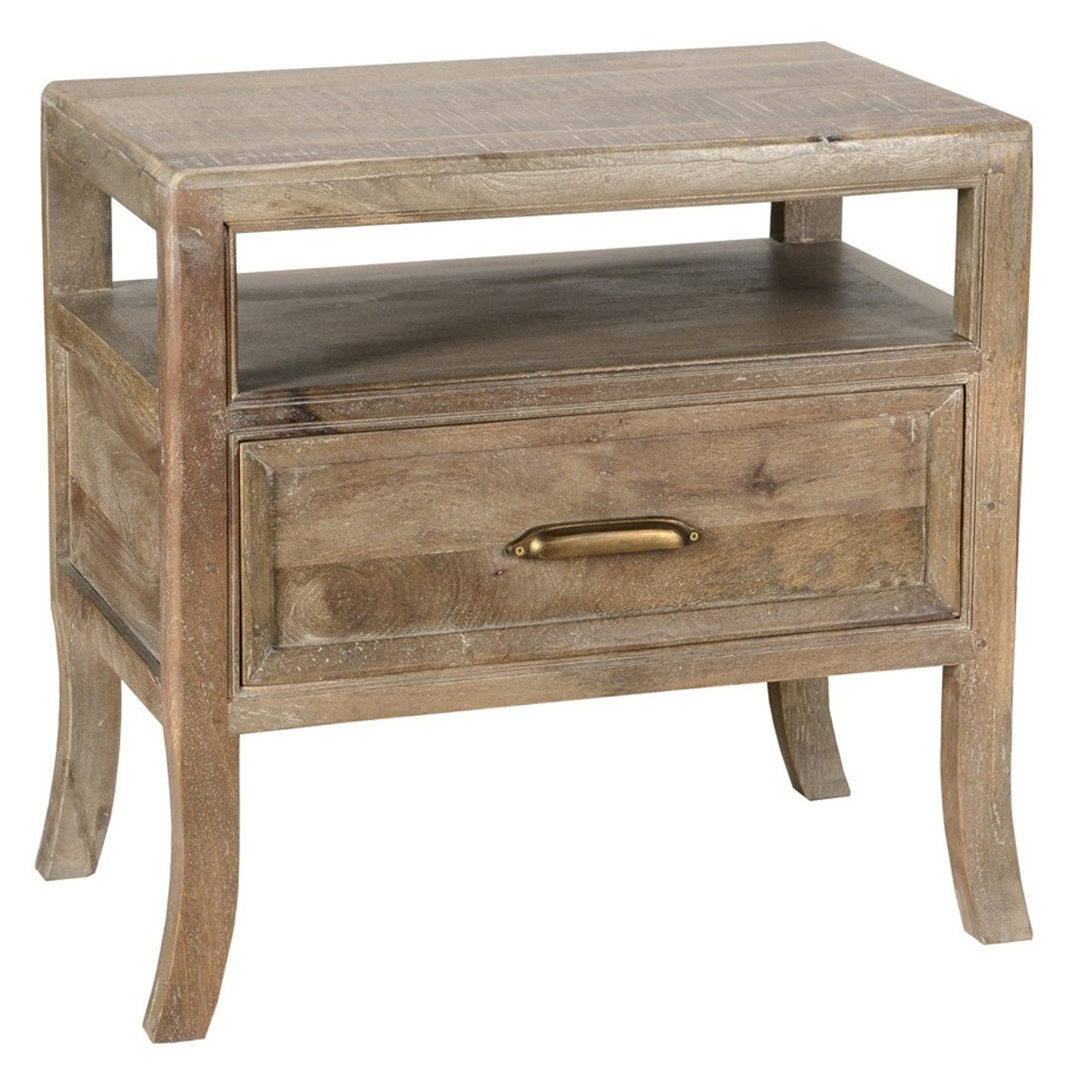 Amelie Solid Wood 1 Drawer Nightstand Vintage Taupe