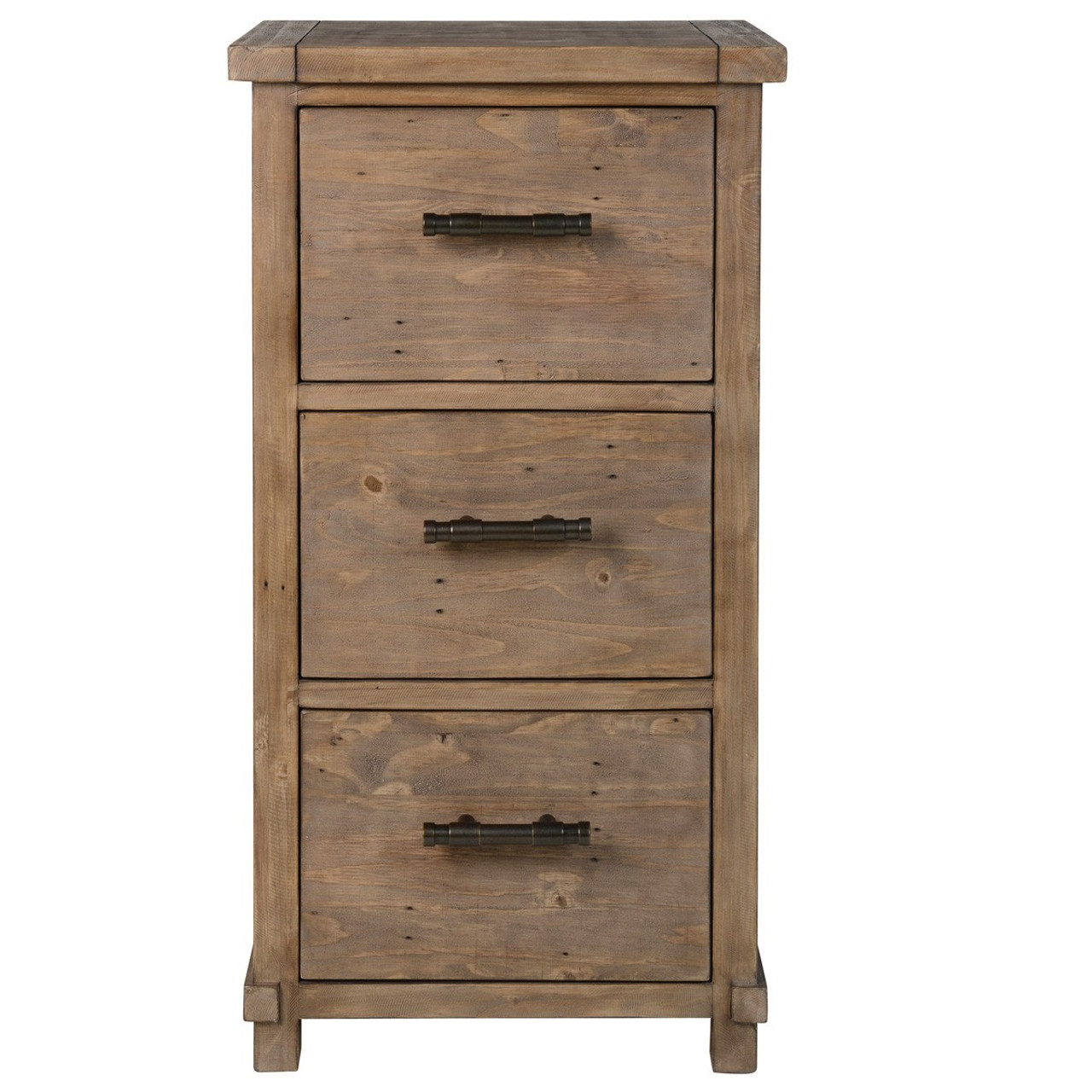 Farmhouse Reclaimed Wood 3 Drawers Filing Cabinet