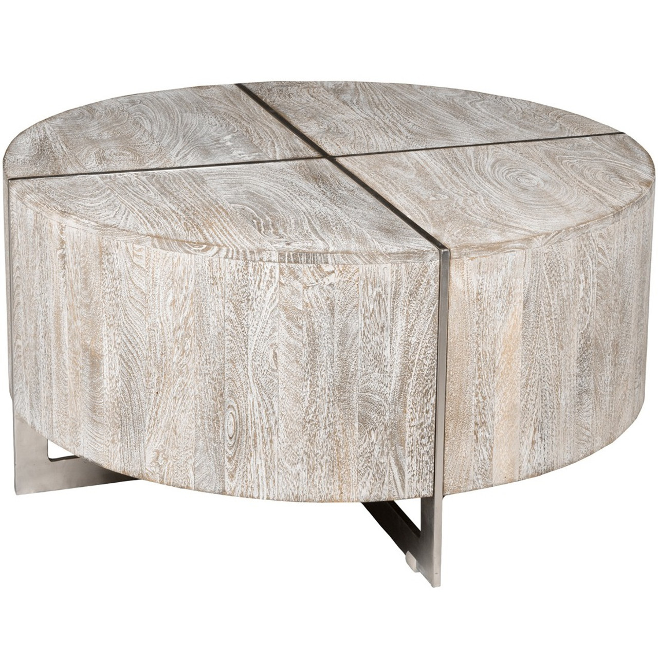 Uptown Whitewashed Solid Wood Round Coffee Table 36"