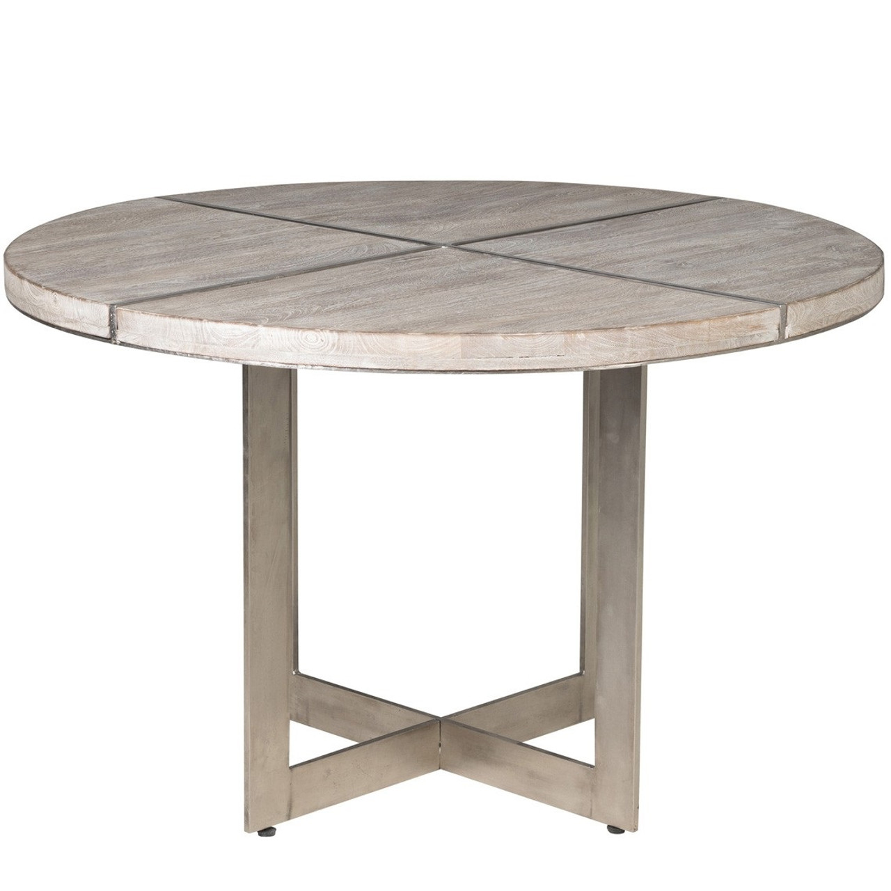 Uptown Whitewashed Solid Wood Round Table Zin Home - 48 round solid wood dining table