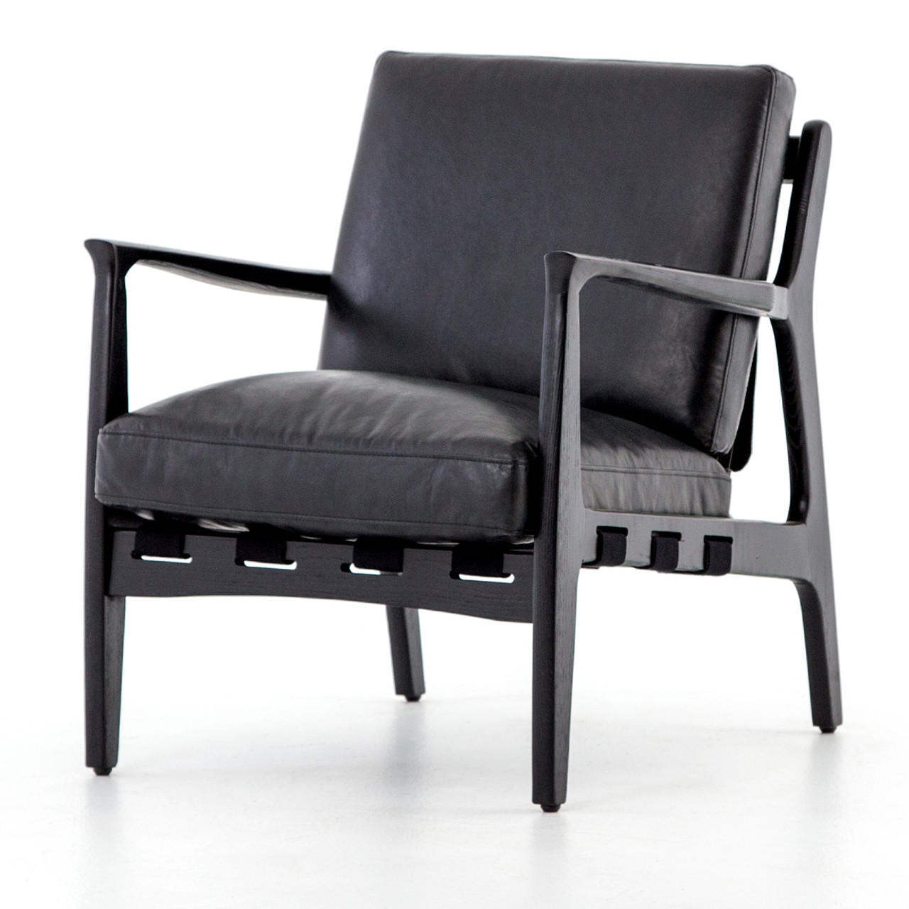Merveilleux Silas Mid Century Modern Aged Black Leather Arm Chair