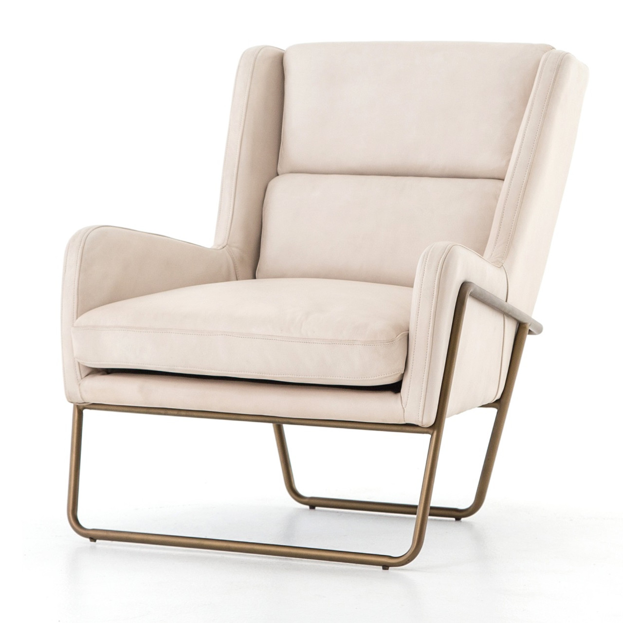 Wembley Mid Century Modern Ivory Leather Lounge Chair