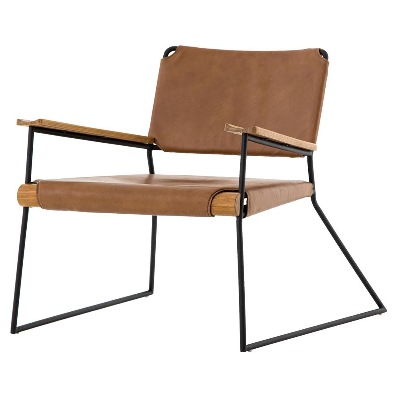Exceptionnel Newton Mid Century Tan Leather Arm Chair
