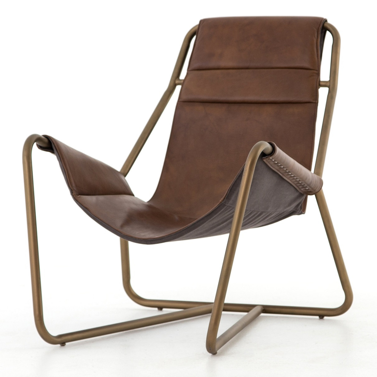 Vera Mid-Century Brown Leather Lounge Chair - Brass
