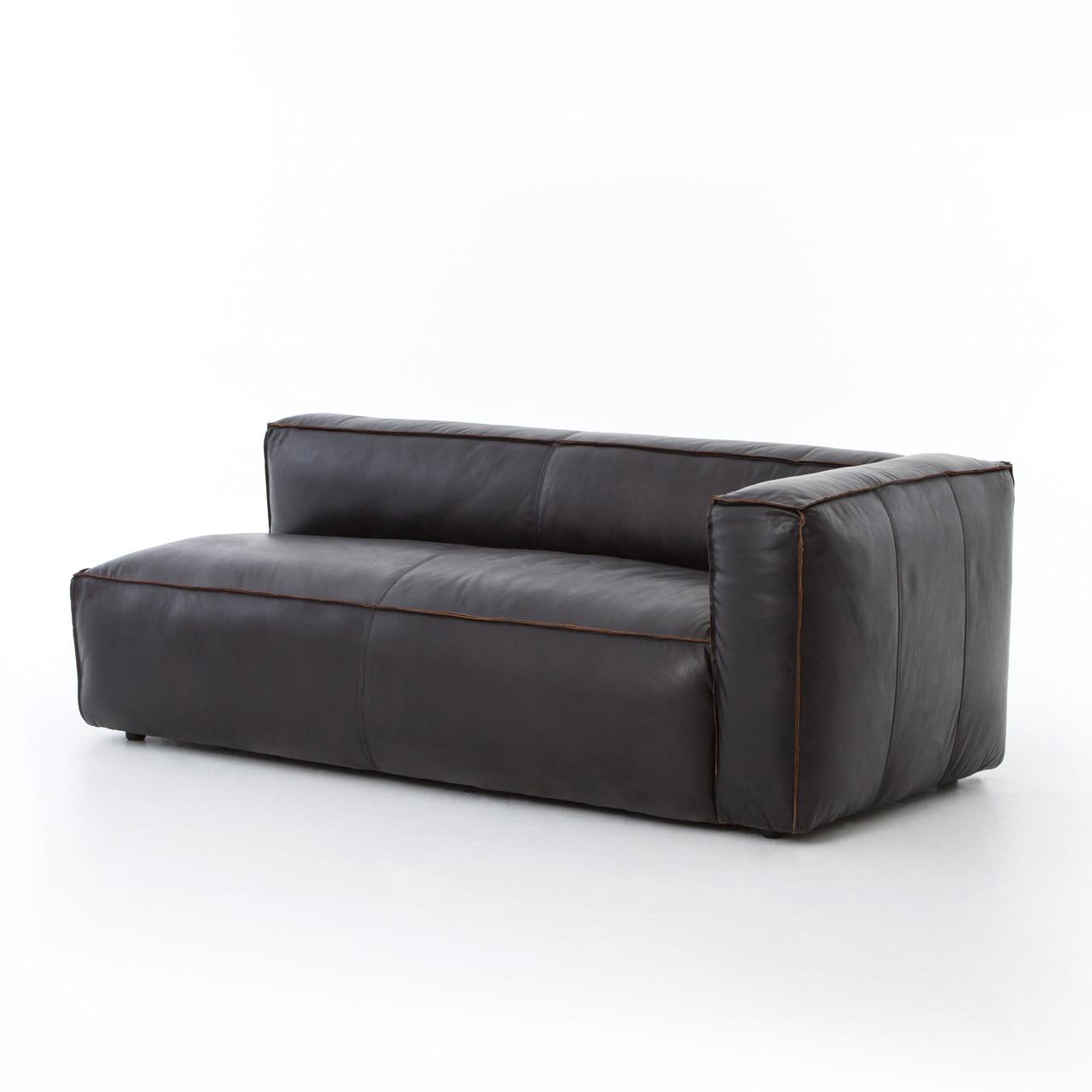 nolita saddle black leather sectional chaise raf zin home. Black Bedroom Furniture Sets. Home Design Ideas