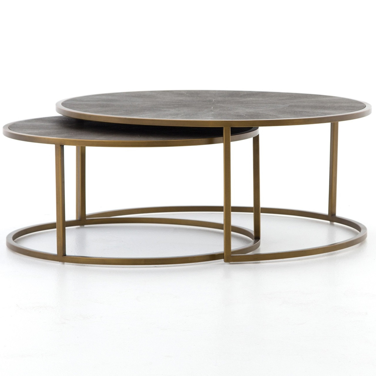 Ideal Hollywood Modern Shagreen Nesting Coffee Tables - Brass | Zin Home LR74