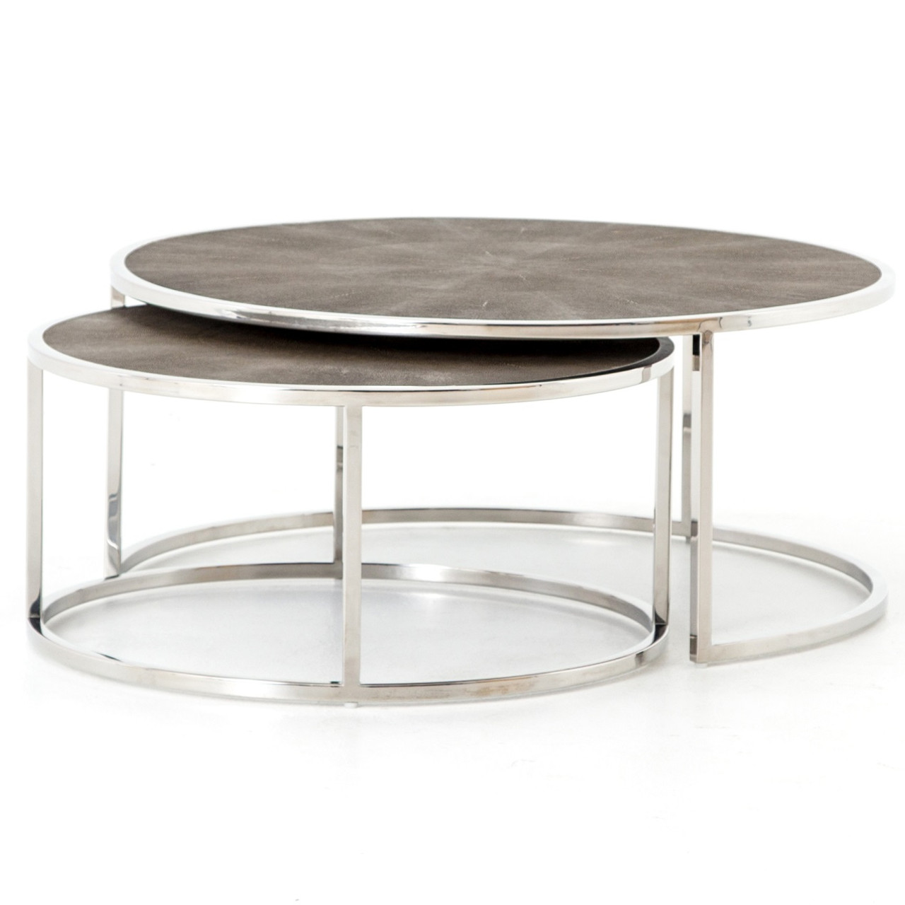 Hollywood Shagreen Nesting Coffee Tables   Stainless Steel