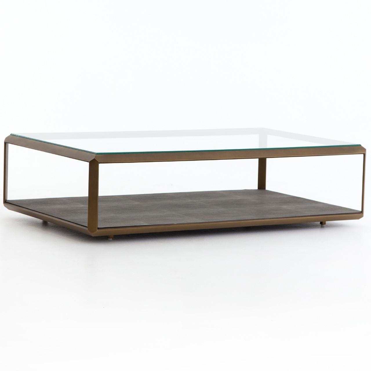 Shagreen Shadow Box Glass Top Coffee Tables - Brass | Zin Home