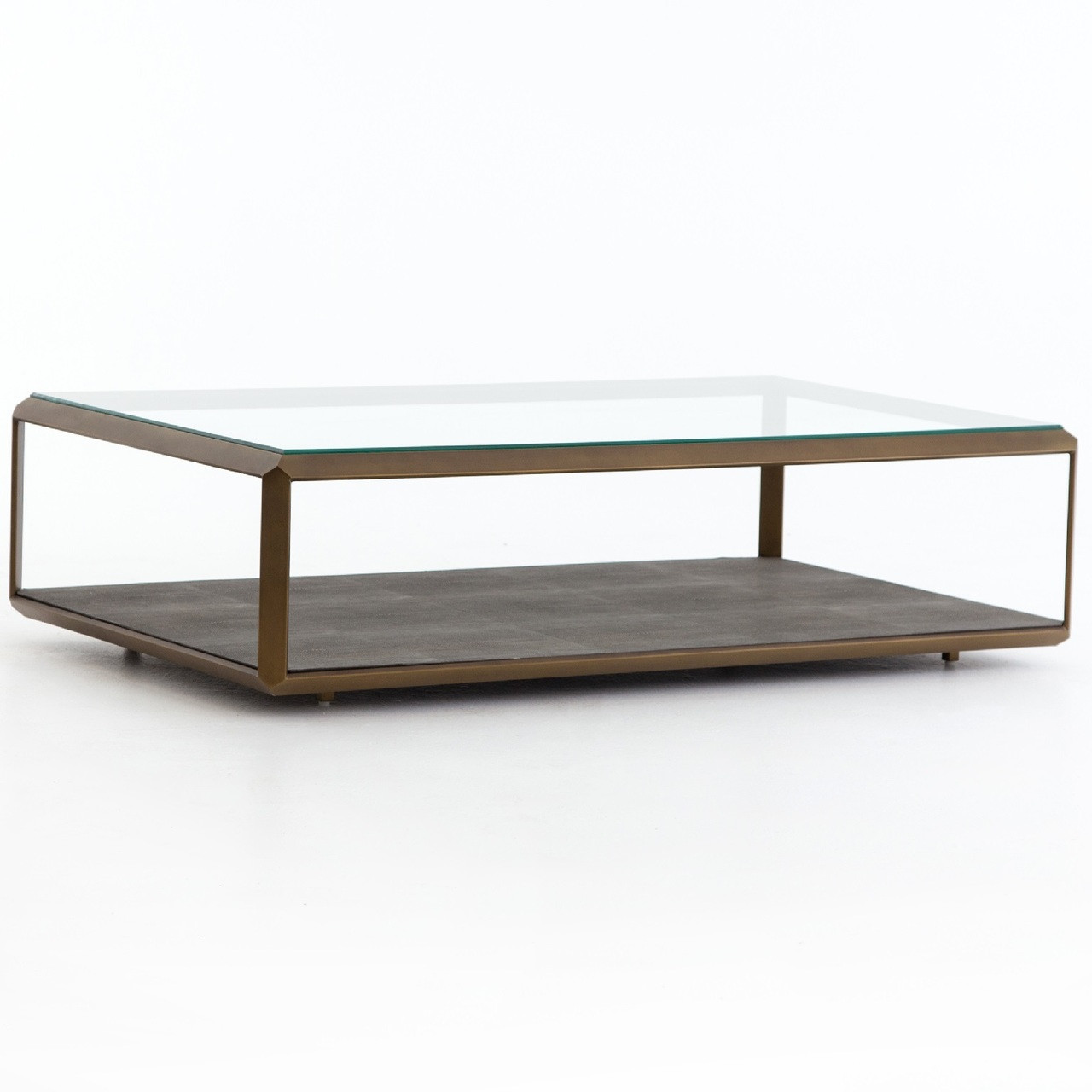 Hollywood Shagreen Shadow Box Glass Coffee Table   Antiqued Brass
