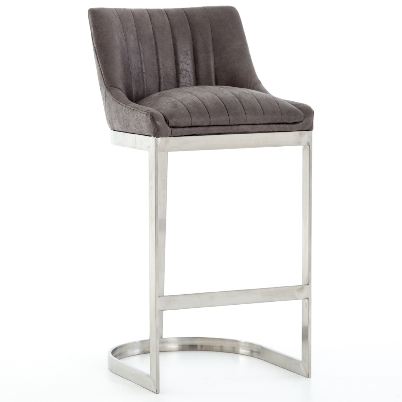 stainless steel bar stools Rory Graphite Leather + Stainless Steel Bar Stool | Zin Home stainless steel bar stools