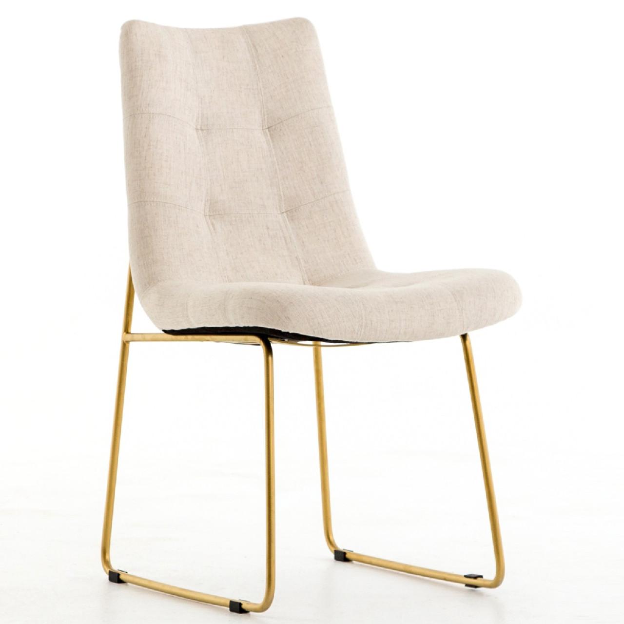 Camile Gold Iron Leg Dining Chair   Savile Flax