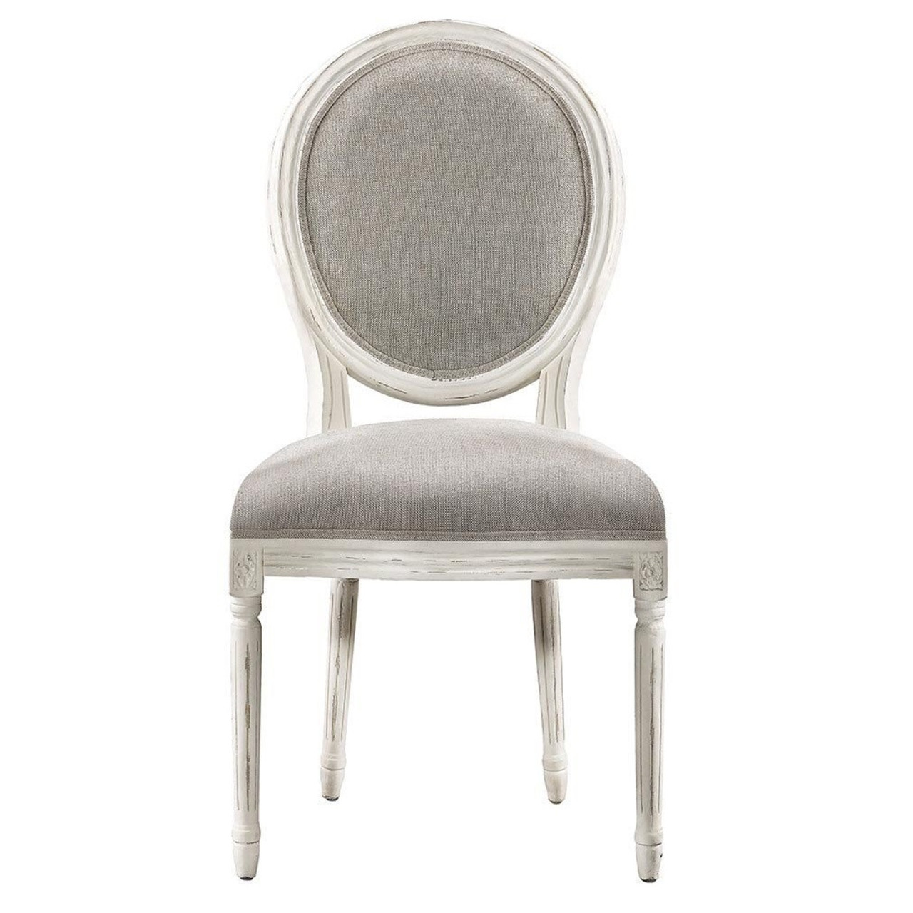 Lovely Louis Vintage White Oak Round Dining Side Chair  Linen