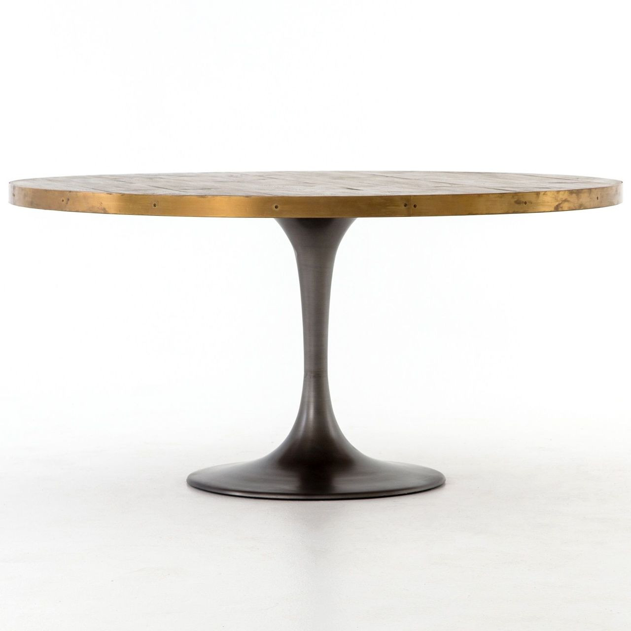 Evans Industrial Tulip Oak Wood Top Round Dining Table Zin Home - Tulip table wood top