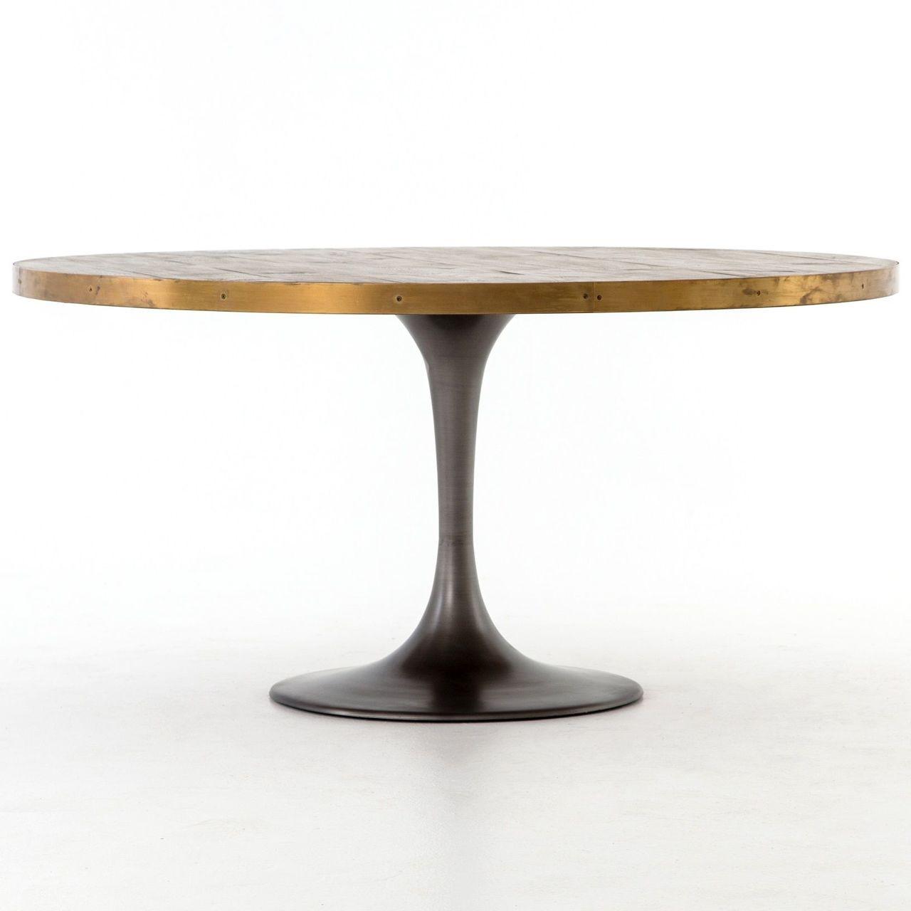 evans industrial tulip oak wood top round dining table 60