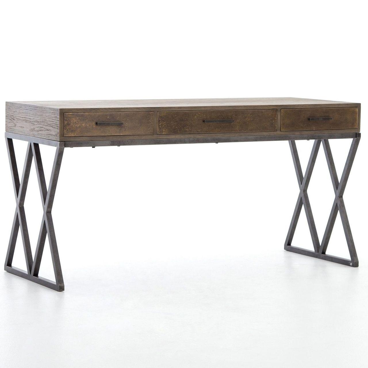 Sampson Modern Industrial Oak Wood Desk 59